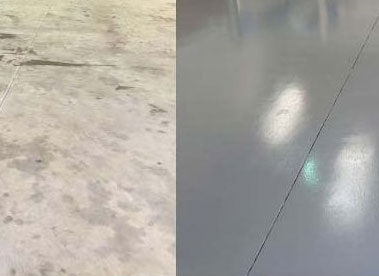 Concrete before and after applying Epoxy Seal Coat Grey