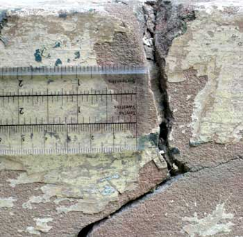 Parapet crack in need of cutting out