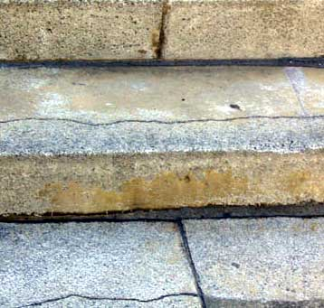 Cracks and gaps in steps that lead to leaks and movement